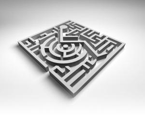 Billede af labyrint med kørestols-/handicap-symbol